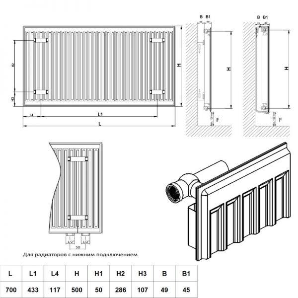 Радиатор Daylux класс 11 500H x 700L низ