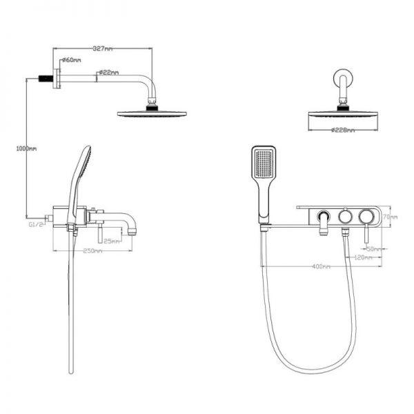 Душевая система Q-tap 1111 BLA