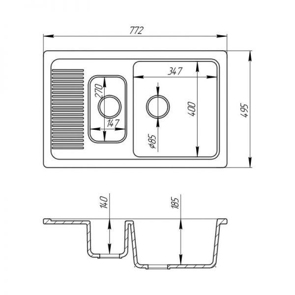 Кухонная мойка Fosto7749SGA 800