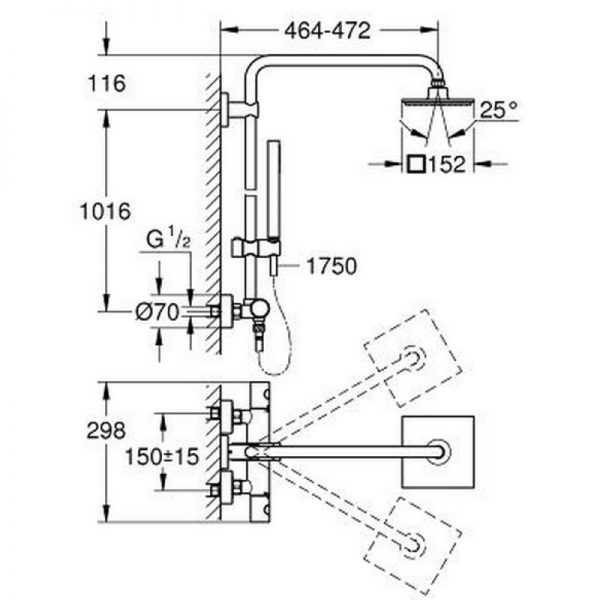 Душевая система с термостатом Grohe Euphoria 150 27932000