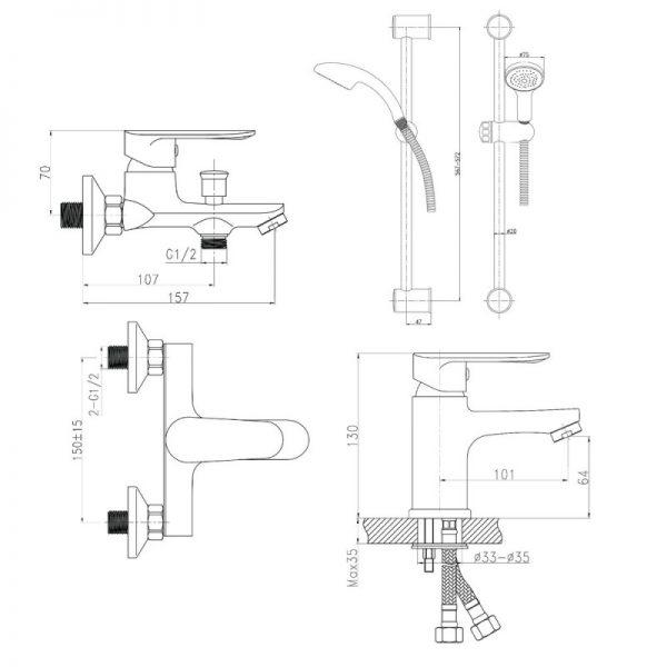 Душевой набор Q-tap Set CRM 35-211