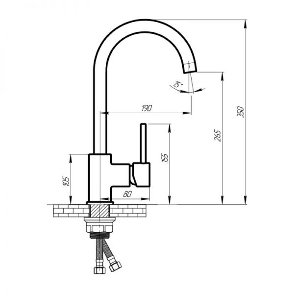 Смеситель для кухни Q-tap Form CRM 007F