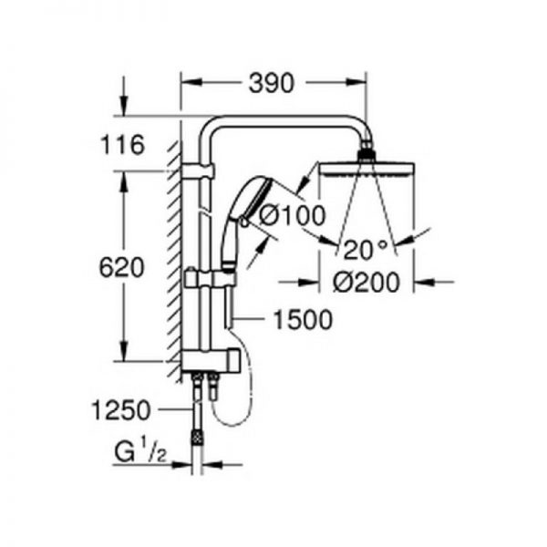 Душевая система Grohe New Tempesta 200 27399002