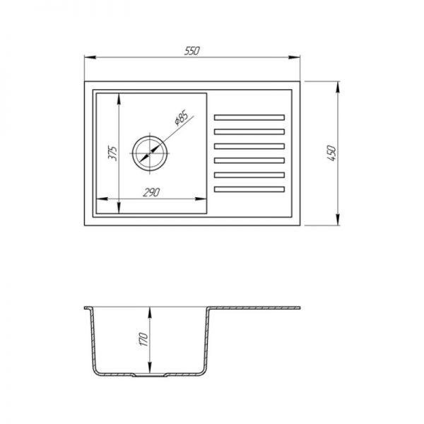 Кухонная мойка Fosto5546 SGA 203