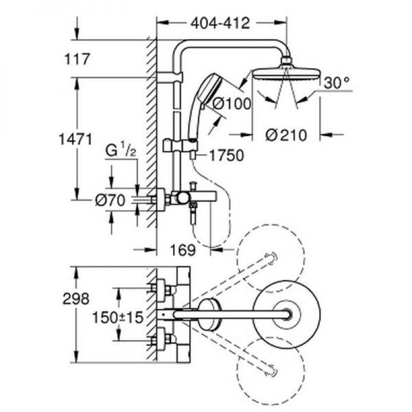 Душевая система с термостатом Grohe Tempesta Cosmopolitan 26223001