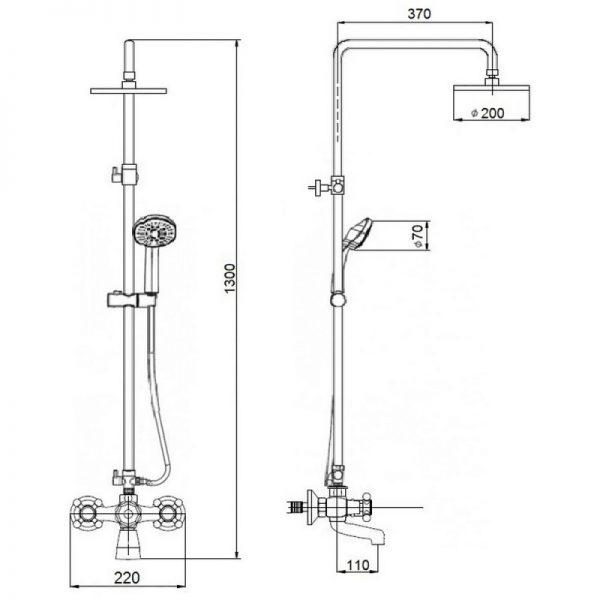 Душевая система Q-tap Liberty ORO 140-210