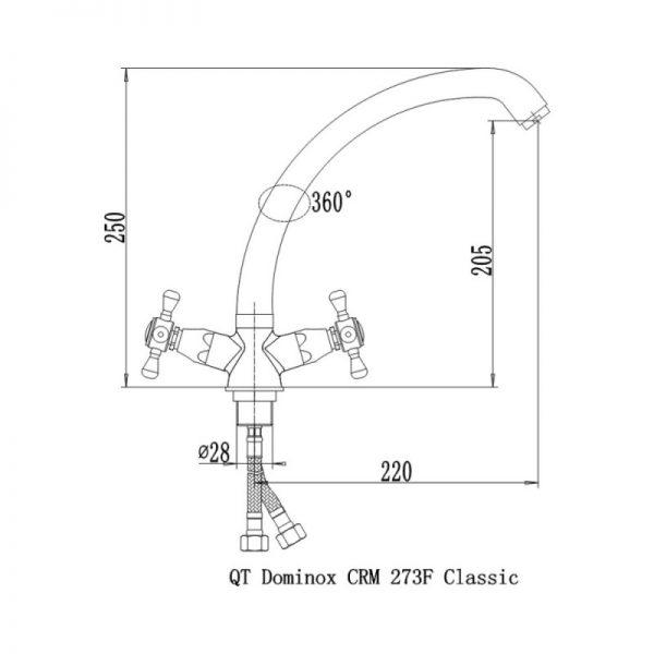 Смеситель для кухни Q-tap Dominox CRM 273F