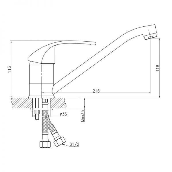 Смеситель для кухни Q-tap Mars СRM 002