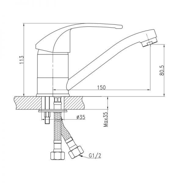 Смеситель для кухни Q-tap Mars СRM 002M