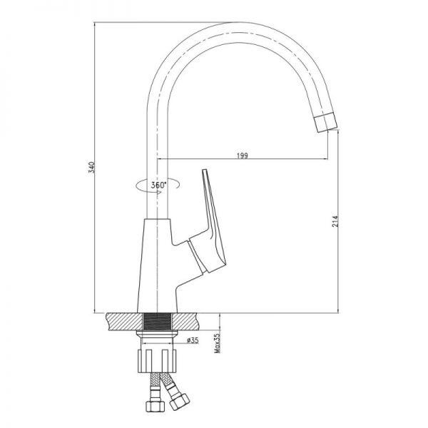 Смеситель для кухни Q-tap Tenso CRM 007