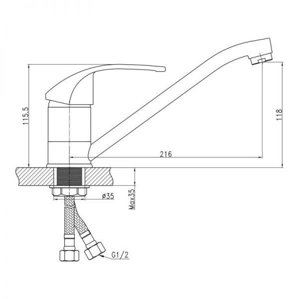 Смеситель для кухни Q-tap Mars СRM 003