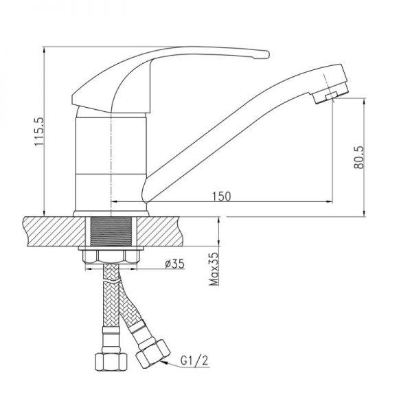 Смеситель для кухни Q-tap Mars СRM 003М