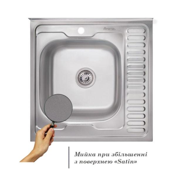 Кухонная мойка Imperial 6060-L (0,6 мм) Satin