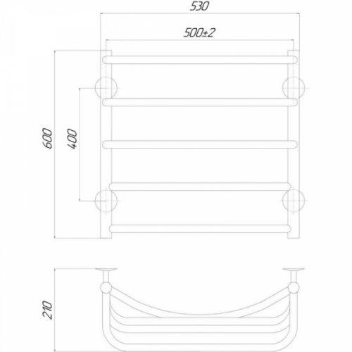 Полотенцесушитель Q-tap Cascade (CRM) P5500х600 RE