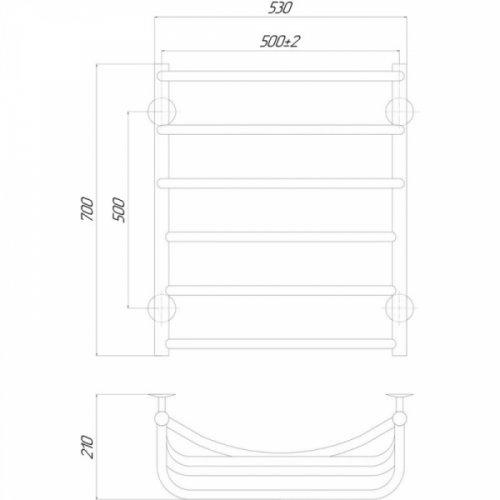 Полотенцесушитель Q-tap Cascade (CRM) P6500х700 RE
