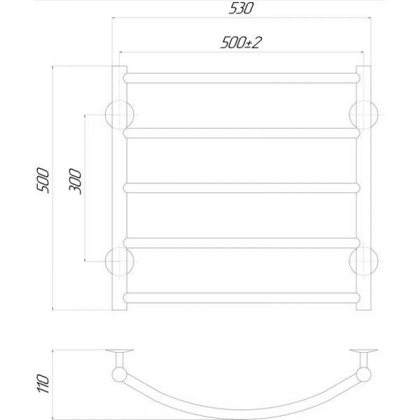 Полотенцесушитель Q-tap Classic (CRM) P5 500х500 LE