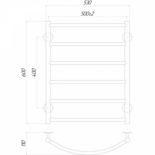 Полотенцесушитель Q-tap Classic (CRM) P6500х600 LE