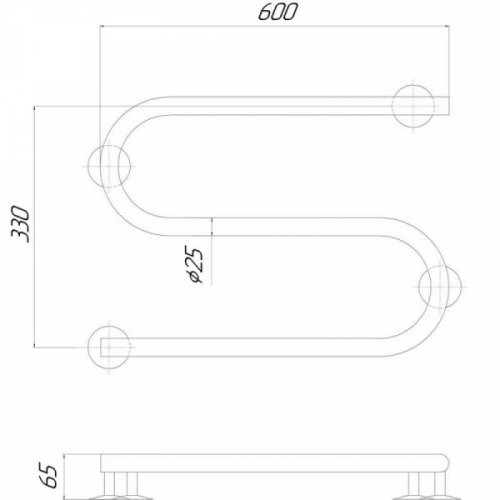 Полотенцесушитель Q-tap Snake (CRM) 600х330 LE
