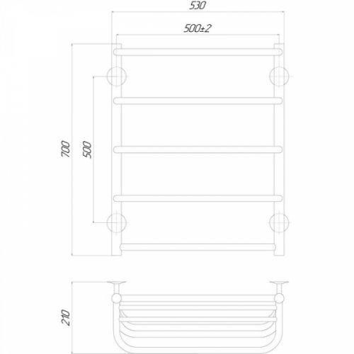 Полотенцесушитель Q-tap Standard Shelf (CRM) P5500х700 RE