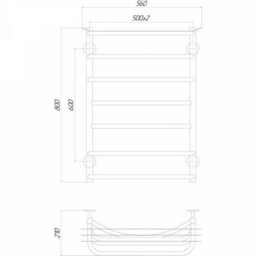 Полотенцесушитель Q-tap Yunost (CRM) P7500х800 LE