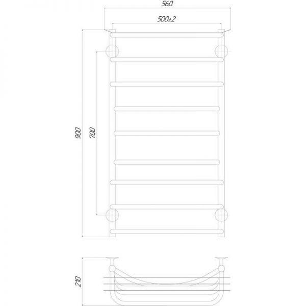 Полотенцесушитель Q-tap Yunost (CRM) P9500х900 LE
