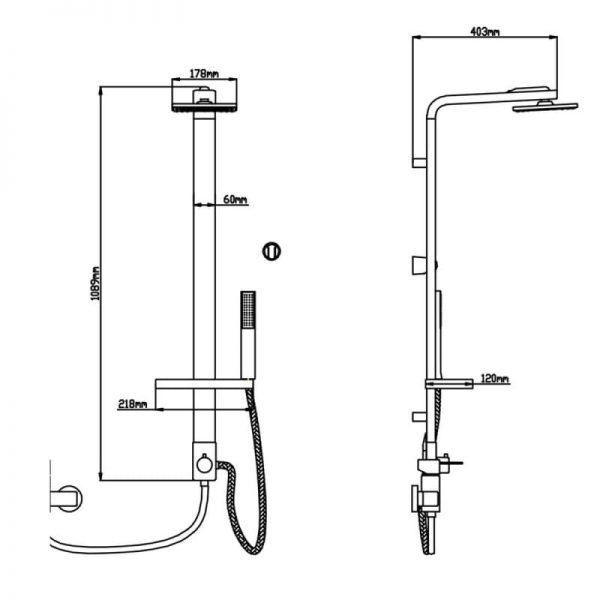 Душевая система Q-tap 1103 CRM