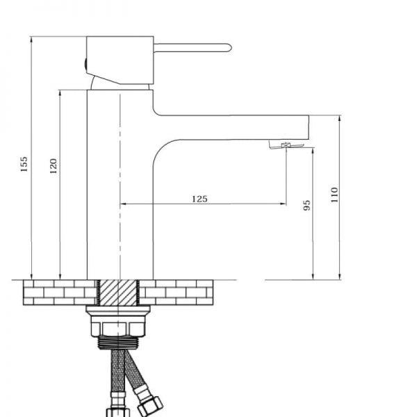 Смеситель для умывальника QT Form CRM 001F