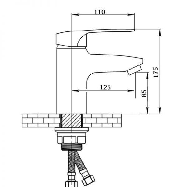 Смеситель для умывальника QT Hansberg CRM 001F