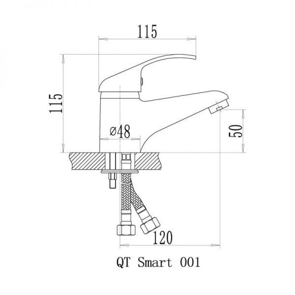 Смеситель для умывальника QT Smart CRM 001