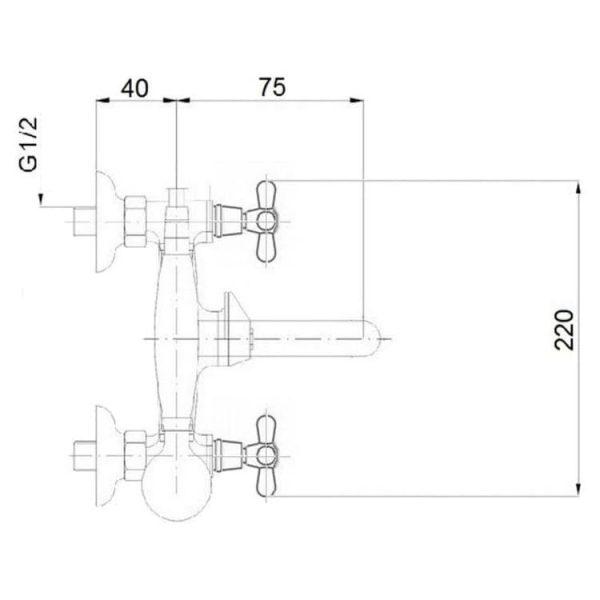 Смеситель в ванную Q-tap Liberty ANT 140-2