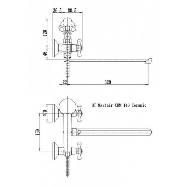 Смеситель в ванную Q-tap Mayfair CRM 143