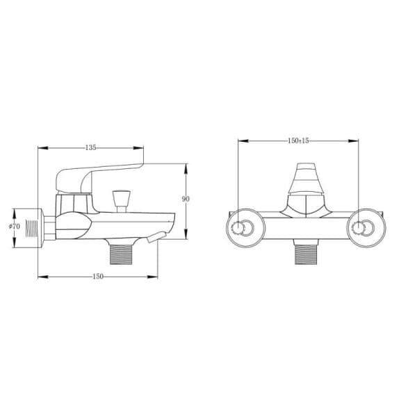 Смеситель в ванную Q-tар Polaris WHI 006