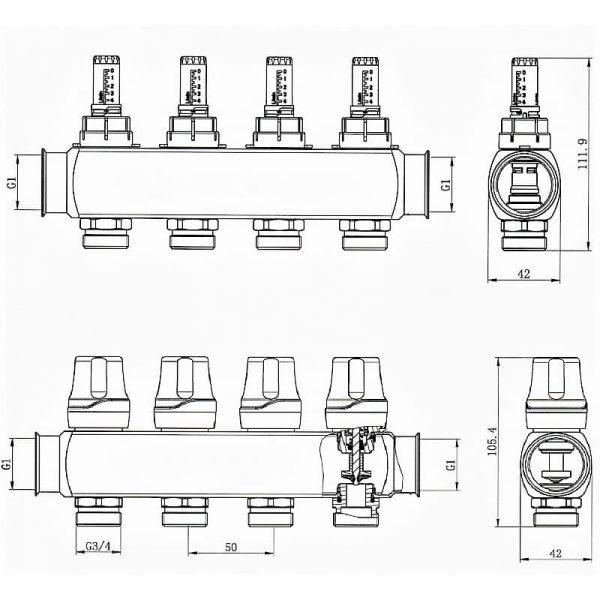 Коллектор RAFTEC RC03-03 с расходомерами