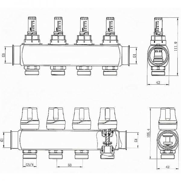 Коллектор RAFTEC RC03-06 с расходомерами