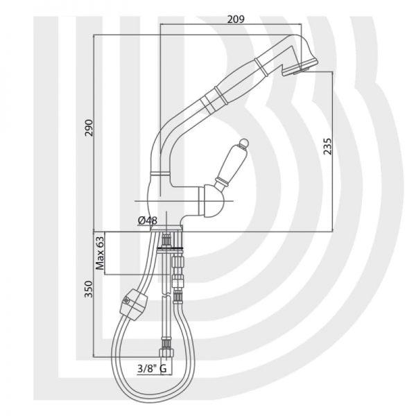 Смеситель для кухни Bianchi Elite LVMELT 2078011A CRM