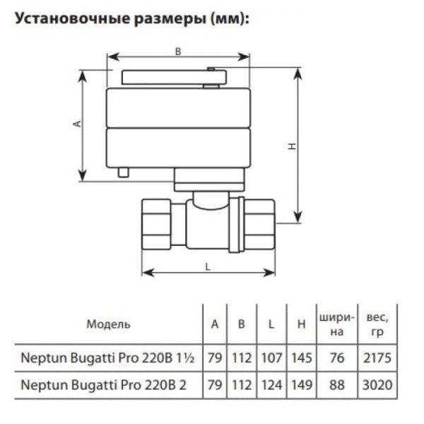 Кран с электроприводом Neptun Bugatti Pro 220В 2″