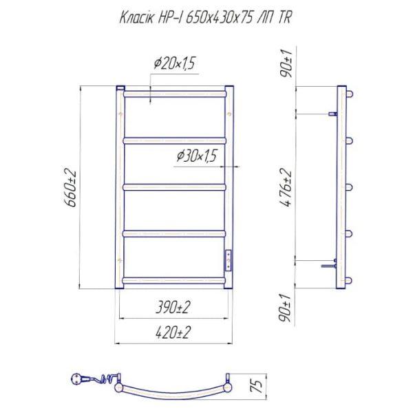 Полотенцесушитель Mario Классик HP-I 650х430/75 TR K