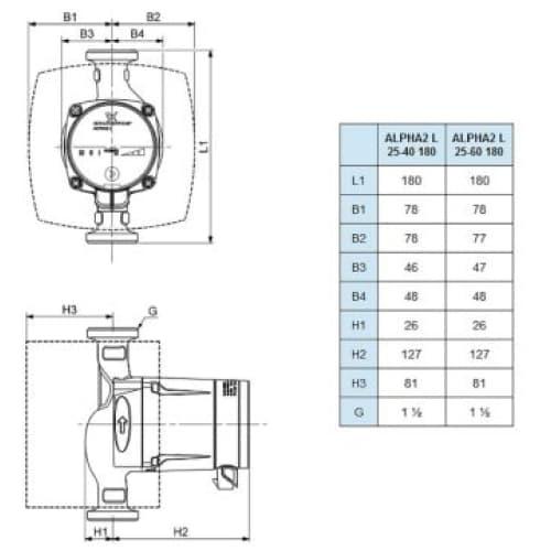 Циркуляционный насос Grundfos ALPHA2 L 25-4-180