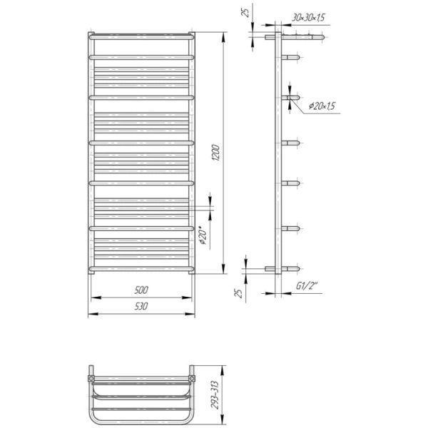 Полотенцесушитель Mario Премиум Люксор 1200х530/500