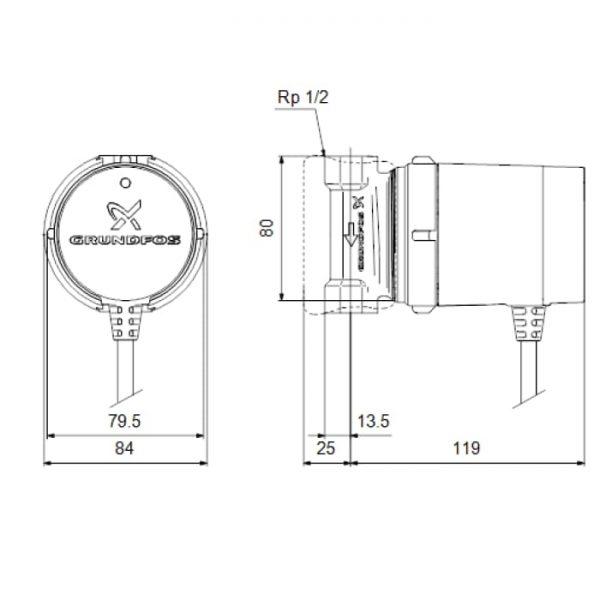 Рециркуляционный насос Grundfos Comfort 15-14B PM