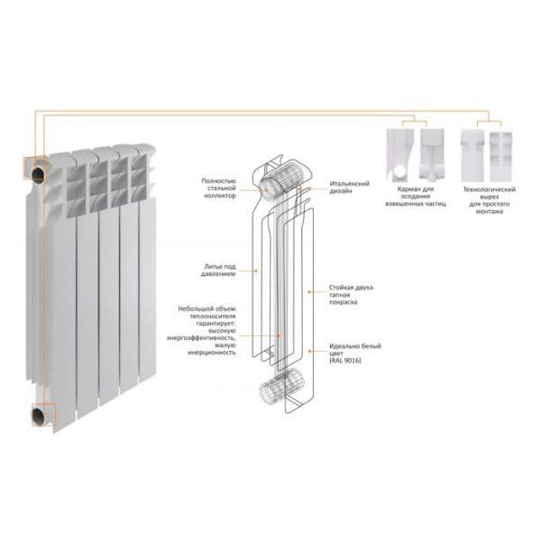 Радиатор Heat Line М-500S/80 M50080B