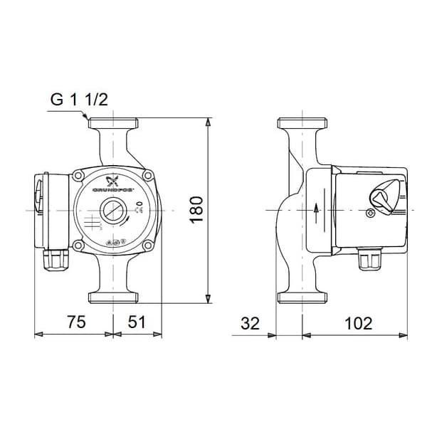 Циркуляционный насос Grundfos UPS 25-60-180