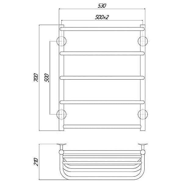 Полотенцесушитель Q-tap Standard shelf P5 500×700