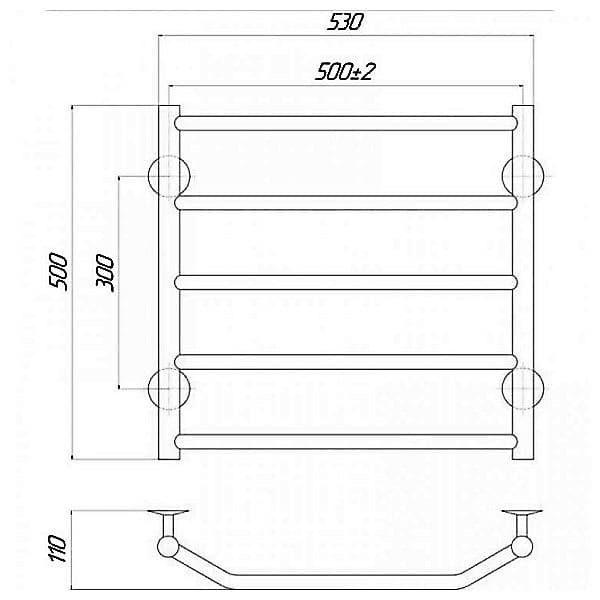 Полотенцесушитель Q-tap Trapezium P5 500×500