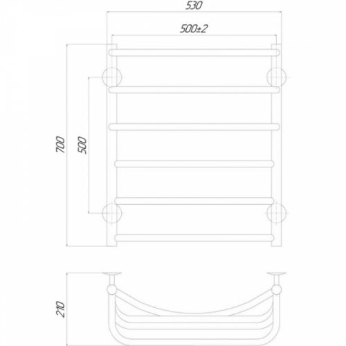 Полотенцесушитель Q-tap Cascade (CRM) P6500х700 LE