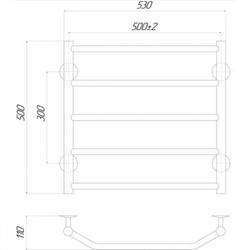Полотенцесушитель Q-tap Trapezium (CRM) P5500х500 RE