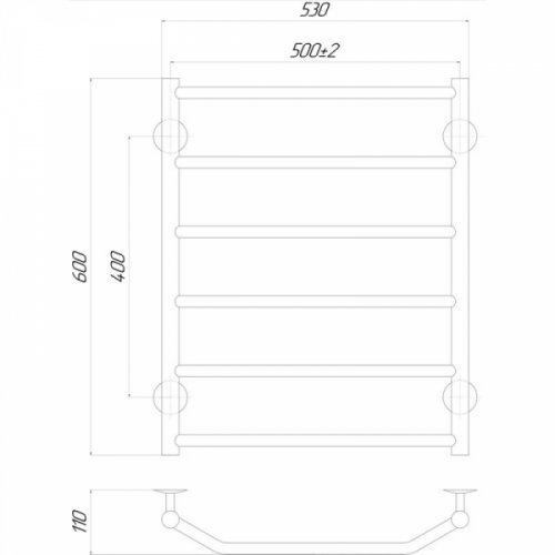 Полотенцесушитель Q-tap Trapezium (CRM) P6500х600 RE
