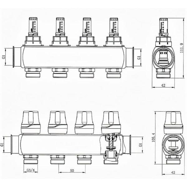Коллектор RAFTEC RC03-02 с расходомерами
