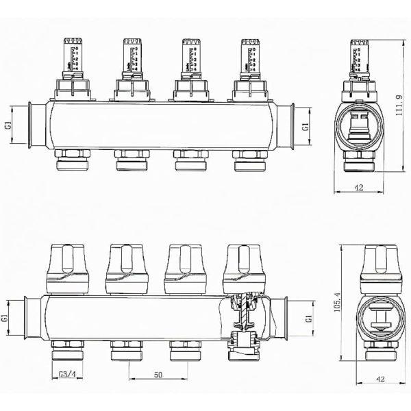 Коллектор RAFTEC RC03-05 с расходомерами